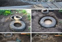 Garden pools with tires