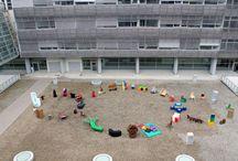 Sedute del Terzo Paradiso / Michelangelo Pistoletto firma il progetto artistico realizzato dagli studenti del Liceo Artistico G.Q.Sella per il Nuovo Ospedale dell'Asl di Biella