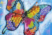 vrolijke schilderijen vlinder