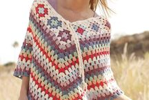 adult Poncho with squares round neck