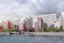 """ЖК «Ривер-парк» в районе Нагатинский затон / Архитекторы: """"Остоженка""""/ AEON Corporation/ 180 000 руб. - за 1 м2/ пластическое решение: разнообразная нарезка окон, градиент цветными панелями"""