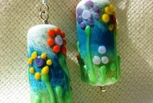 Lampwork earrings / Lampwork beads by Sandra C.