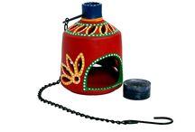 Red earthern hanging tea light holder