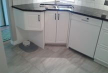Nicole new kitchen / L shaped kitchen changed to a white PVC cabinets with dark granite and completely re-arranged design