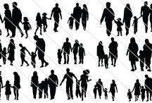 Family Silhouettes / So many families, playing, walking, running, and chit chatting together. They are showing their togetherness in love by holding hands and making jokes in this family silhouette.