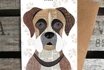 boxer dogs illustrations
