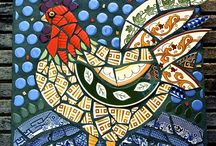 Mosaic roosters