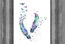 Digital Aquamarine / Wall Decor, Wall Art, watercolor painting