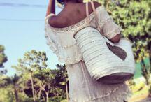 Bohemian dreams / Gauze dress , hand painted basket, boho fashion, hippie fashion