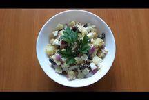 Mackerel & potatoes salad. Salată de cartofi cu macrou. Салат картофельный с скумбрией. / Ingredients: 3 potatoes, mackerel-170g, 1/2 red onion, 3 eggs, black olive-100g, olive oil with basilic, lemon juice, salt. Ingrediente: 3 cartofi, macrou-170g, 1/2 ceapă roșie, 3 ouă, măsline negre-100g, ulei de măsline cu busuioc, suc de lămâie, sare. Ингредиенты: картошка-3шт, скумбрия-170г, половина красного лука, три яйца, маслины чёрные-100г, масло оливковое с базиликом, лимонный сок, соль.