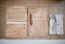 Invitations on Wood / We've been interested in printing on wood and have tried it in both letterpress and foil stamping. It's a unique medium and really brings a rustic flair! / by Jessika Feltz | Jupiter and Juno
