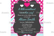 A Little Sweetheart Valentine's Pink Baby Shower / This collection features a pink and white heart on a chalkboard frame. The background consists of white hearts on hot pink, blue and pink stripes and a heart ribbon.