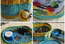 плетение из бумаги- шкатулки и игольницы