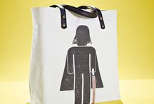 01WARDROBE Autumn/Winter 2013 - Darth Vader Tote Bag / Cow Skin Leather Shoulder Straps // %100 Cotton Canvas bag / Printed bag / İllustrated bag / Starwars Darth Vader Tote Bag, $65