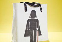 01WARDROBE Autumn/Winter 2013 - Darth Vader Tote Bag / Cow Skin Leather Shoulder Straps // %100 Cotton Canvas bag / Printed bag / İllustrated bag / Starwars Darth Vader Tote Bag, $65
