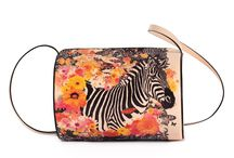 Horizontal Tube - Happy Zebra / Women Leather Handbags, Limited Edition Designer Leather Bag COLOURS OF MY LIFE - Limited Edition wearable art signed by Anca Stefanescu.