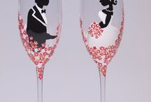 Painted & decorated glassware and bottles