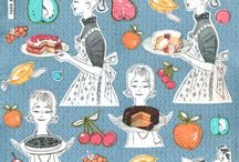 Vintage fabric Food / Fabric, Wallpaper, Gift Wrap, food, Cake, candy,