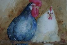 Rooster and Chicken ART / by June Hollingshead