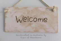 Welcome Signs, Sign Ideas, handcrafted Wood Greeting signs made in Australia