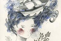 femme au bateau