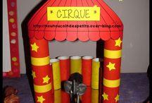 fabriquer petits chapiteau  du cirque tubes cartonnes