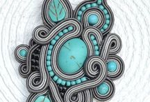 Jewellery hand made / Necklace soutache jewellery glass beads