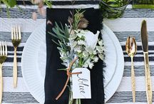 Place settings for Entertaining / stripes and greens / by Mindy Weiss