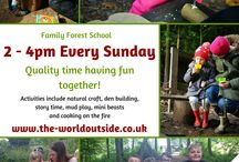 Adult Forest Activities / Forest School / Adults enjoying forest activities including cooking on the fire, basic bushcraft and natural a craft