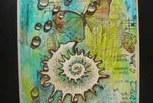 """April 2015 MMMC #11 Winners / Winners of the Mixed Media Monthly Challenge #11 April 2015 """"April Showers"""""""