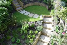 steps on a sloped garden