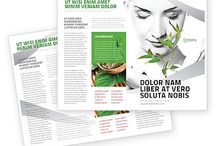 green flyers, brochures