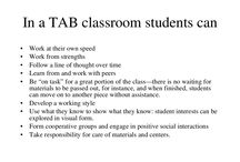 Teaching for artistic behavior / Choice based learning. Student led, TAB