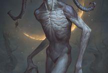 Creepy humanoid monsters