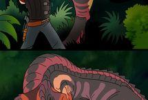 personagens e dinossauros
