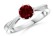 Ruby Solitaire Ring With Diamond Accents