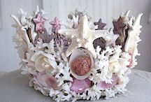 """Seashell Do-dads / My neighbor, Tammy,  is """"going factory"""" in her backyard making things out of oyster shells! She got me thinking...what else could she make with that massive pile of shells that Joe's grandfather left him for a gift (all these years later).   I wonder if he is up in oyster eatin' heaven looking down on her and saying, """"You go Tammy! Somebody get me another cracker!"""" / by ronnie gunn tucker"""