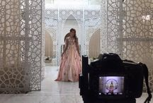 On location, shooting at Royal Mansour / Thank you to Melanie Martins for sharing these beautiful photos of her fashion shoot wearing Amine MRANI  #Fashion