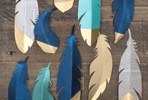 Feathers / Inspiration for hand crafted and painted feathers for a project with my design students