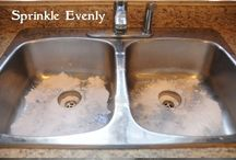 Clean stainless sink