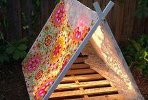 Zelt für Kinder mit Holz und Stoff