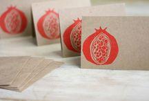 granátové jablko / linoryt
