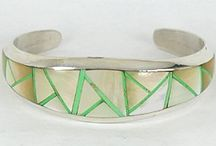 Native American mother of pearl inlay bracelets