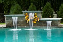 Swimming Pool Water fall feature / Back yard pool with a beautiful waterfall feature