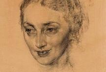 portret houtskool/krijt/potlood