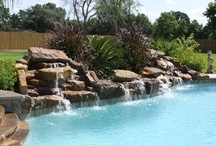 Pool waterfalls, fountains and water features