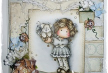 coloured digi stamps and cards