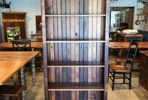 Bookcases to keep everything tidy / Rustic bookcases made from reclaimed wood will add warmth to your home