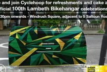 100 Bikehangars for Lambeth / Celebrating 100 Bikehangars within the London Borough of Lambeth with a special Jamaican design to tie in with the cutural influences of the area. Windrush Square, Brixton