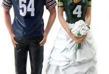 Sports Wedding Cake Toppers / Custom made and personalized sports themed wedding cake toppers are sculpted to look  like the bride and groom!  NFL Football, College, Hockey, Baseball, Basketball, Soccer, Hunting and Motorcycling themes.